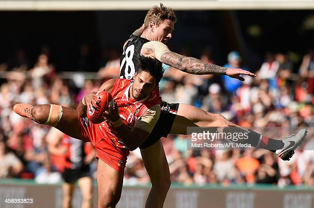 Aaron Hall of the Suns marks during the round 15 AFL match between the Gold Coast Suns and the St Kilda Saints at Metricon Stadium on July 2 2016 in...