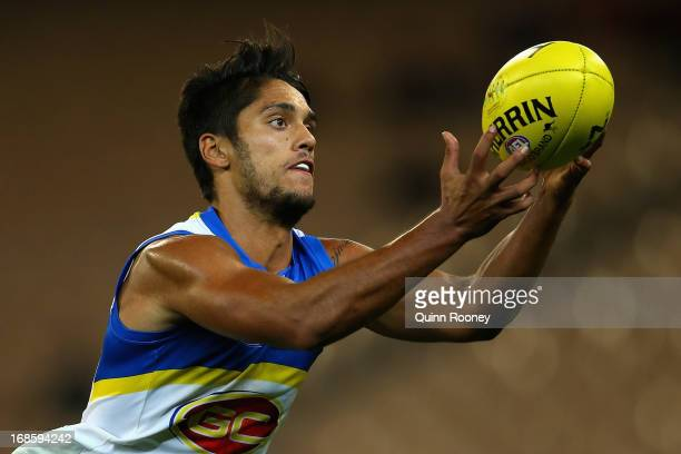 Aaron Hall of the Suns marks during the round seven AFL match between the Melbourne Demons and the Gold Coast Suns at Melbourne Cricket Ground on May...