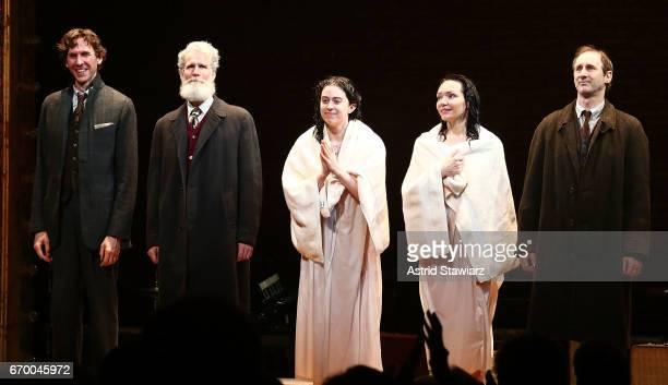 Aaron Halva Tom Nelis Adina Verson Katrina Lenk and Richard Topol attend Indecent broadway opening night curtain call at The Cort Theatre on April 18...