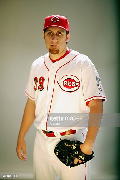 Aaron Harang of the Cincinnati Reds poses during Photo Day on February 23 2007 at Ed Smith Stadium in Sarasota Florida