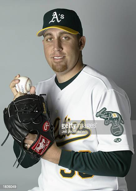 Aaron Harang of the Oakland A's poses for a portrait during the A's Spring Training media day at the Phoenix Municipal Stadium on February 25 2003 in...
