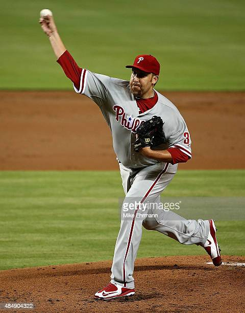 Aaron Harang of the Philadelphia Phillies pitches during a game against the Miami Marlins at Marlins Park on August 22 2015 in Miami Florida