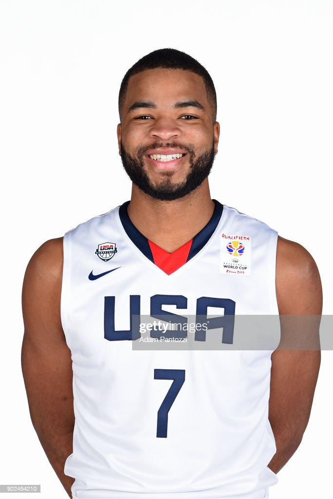 Aaron Harrison #7 of Team USA poses for a head shot on February 20, 2018 at the LA Clippers Training Center in Playa Vista, California.
