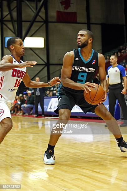 Aaron Harrison of the Greensboro Swarm looks to shoot the ball against the Grand Rapids Drive at The DeltaPlex Arena on December 30 2016 in Grand...