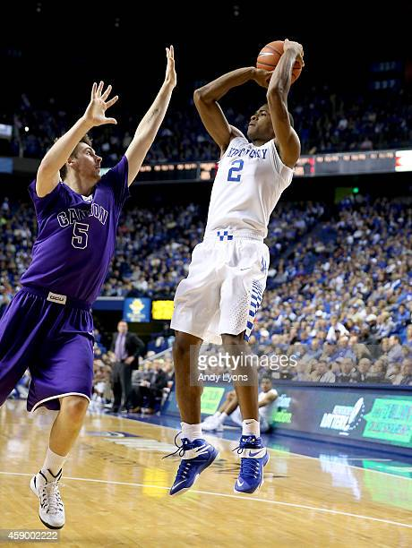 Aaron Harrison of the Kentucky Wildcats shoots the ball during the game against the Grand Canyon Antelopes at Rupp Arena on November 14 2014 in...