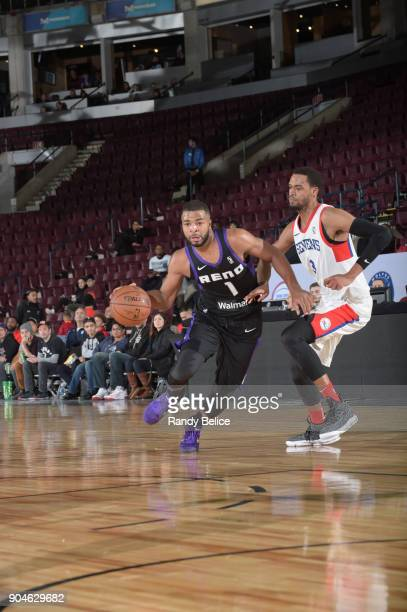 Aaron Harrison of the Reno Bighorns dribbles the ball against the Delaware 87ers during NBA GLeague Showcase Game 26 on January 13 2018 at the...