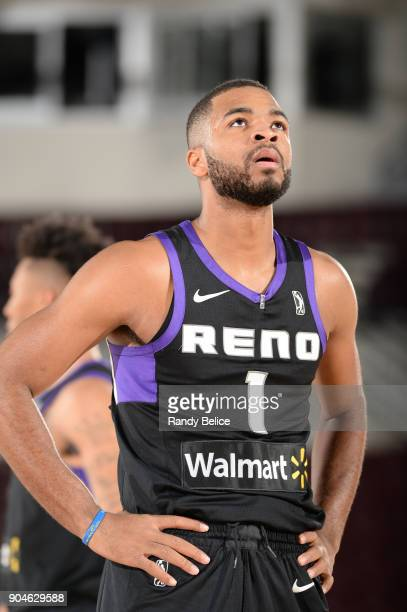 Aaron Harrison of the Reno Bighorns prepares to shoot a free throw against the Delaware 87ers during NBA GLeague Showcase Game 26 on January 13 2018...