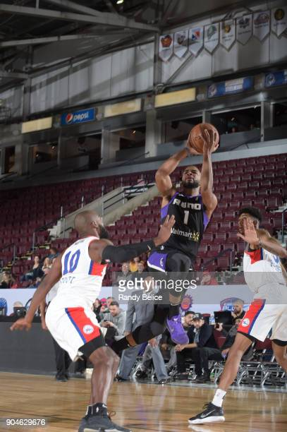 Aaron Harrison of the Reno Bighorns shoots the ball against the Delaware 87ers during NBA GLeague Showcase Game 26 on January 13 2018 at the Hershey...