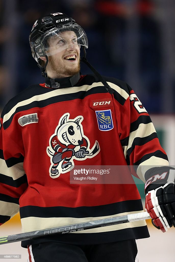 Aaron Haydon #28 of the Niagara IceDogs smiles during warmups for Game 6 of the Eastern Conference Quarter-Finals against the Ottawa 67's at the Meridian Centre on April 5, 2015 in St Catharines, Ontario, Canada.