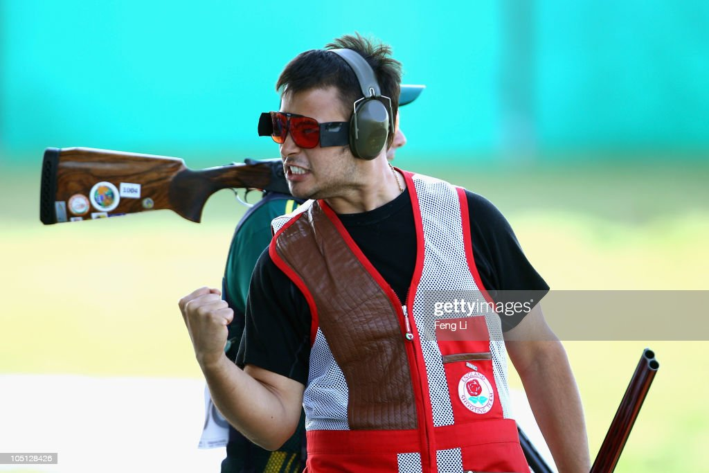 Aaron Heading of England celebrates winning gold in the Men's Singles Trap final at the Dr Karni Singh Shooting Range during day seven of the Delhi 2010 Commonwealth Games on October 10, 2010 in Delhi, India.