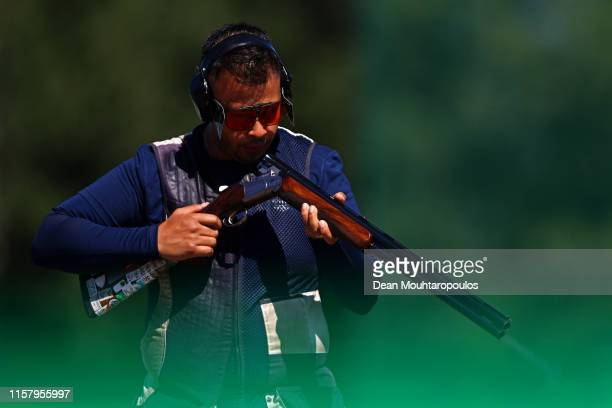 Aaron Heading of Great Britain or Team GB competes during the Mixed Team Shotgun Trap Qualifications event during Day 4 of the 2nd European Games at...
