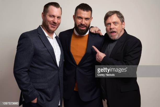 Aaron Helbing Tom Cullen and Mark Hamill of History's 'Knightfall' pose for a portrait during the 2019 Winter TCA at The Langham Huntington Pasadena...