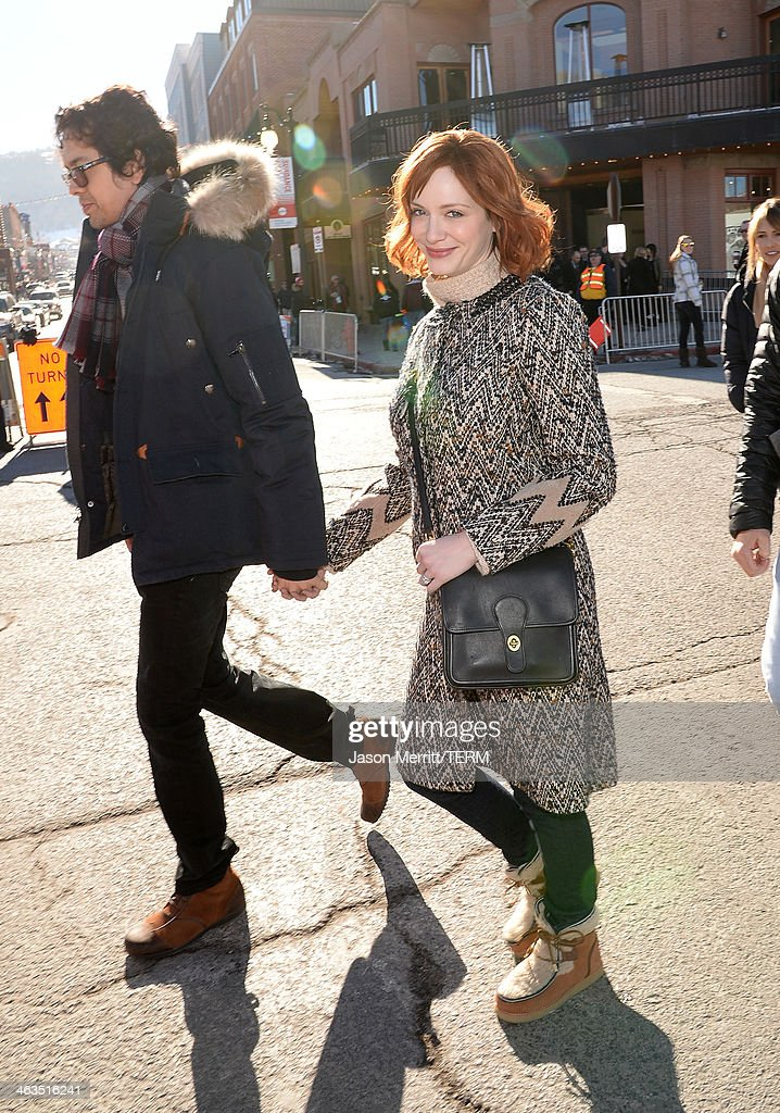 Aaron Hendricks and Christina Hendricks arrive at Day 2 of Oakley Learn To Ride With AOL At Sundance on January 18, 2014 in Park City, Utah.
