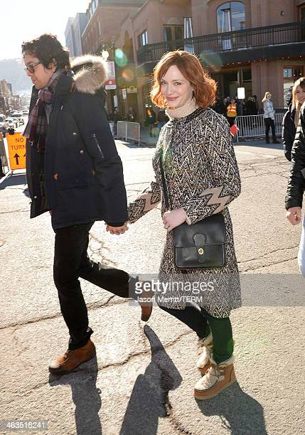 Aaron Hendricks and Christina Hendricks arrive at Day 2 of Oakley Learn To Ride With AOL At Sundance on January 18 2014 in Park City Utah