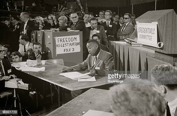 Aaron Henry chair of the Mississippi Freedom Democratic Party delegation speaks before the Credentials Committee at the Democratic National...