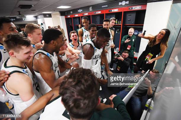 Aaron Henry of the Michigan State Spartans places the Spartan name in the Elite Eight of the bracket following their defeat of the LSU Tigers in the...