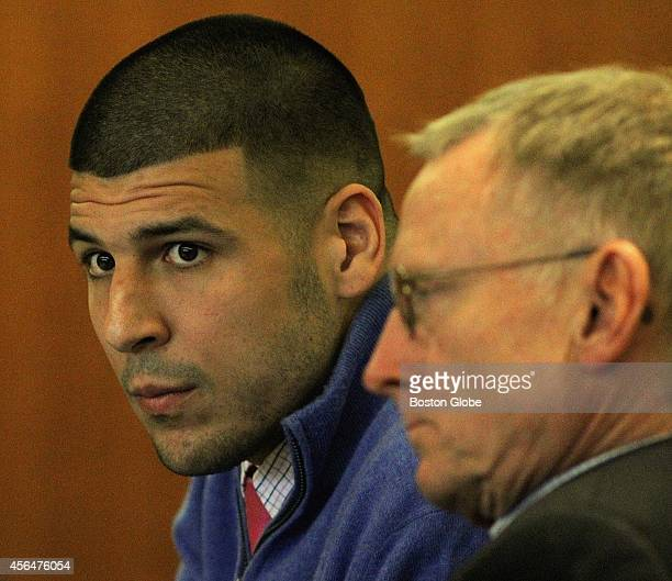 Aaron Hernandez left and lawyer Charles Rankin attend an evidentiary hearing at Bristol County Superior Court in Fall River Mass Hernandez is facing...