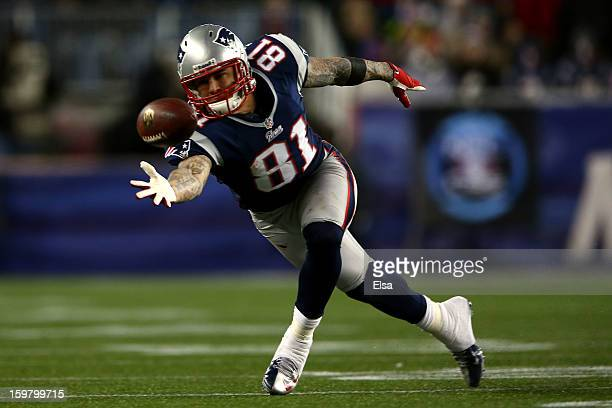 Aaron Hernandez of the New England Patriots misses a catch against the Baltimore Ravens during the 2013 AFC Championship game at Gillette Stadium on...