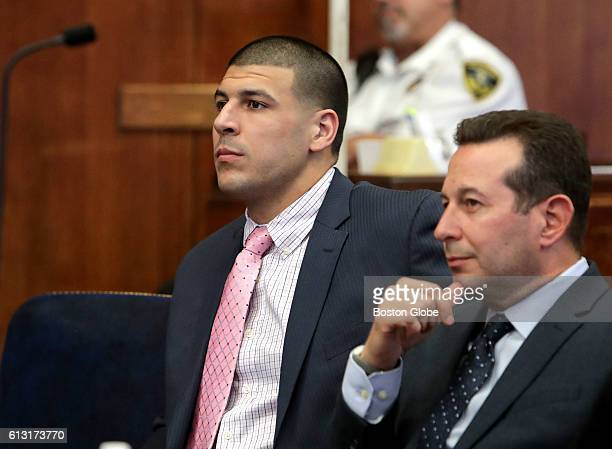 Aaron Hernandez sits at a hearing on the murder charges against him at Suffolk Superior Court in Boston on Oct 5 2016 Hernandez is a former NFL...