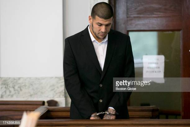Aaron Hernandez stood in the court room Former New England Patriots tight end Aaron Hernandez appeared in Attleboro District Court in Attleboro Mass...