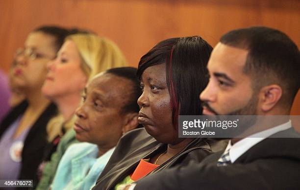 Aaron Hernandez's family members and friends attend his evidentiary hearing at Bristol County Superior Court in Fall River, Mass. On October 1, 2014.