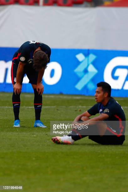 Aaron Herrera of United States reacts after the semifinals match between Honduras and USA as part of the 2020 Concacaf Men's Olympic Qualifying at...