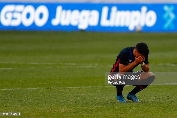 Aaron Herrera of United States reacts during the semifinals match between Honduras and USA as part of the 2020 Concacaf Men's Olympic Qualifying at...