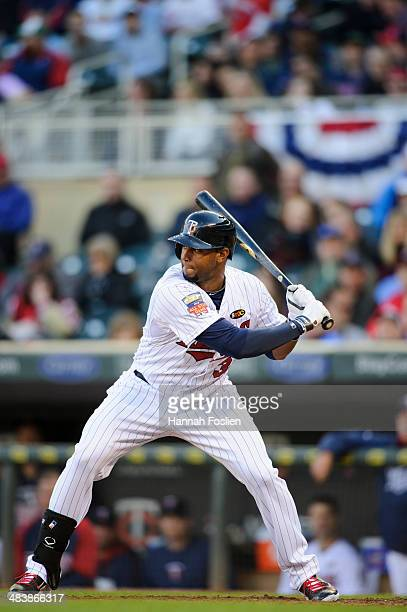 Aaron Hicks of the Minnesota Twins bats against the Oakland Athletics during the game on April 7 2014 at Target Field in Minneapolis Minnesota The...