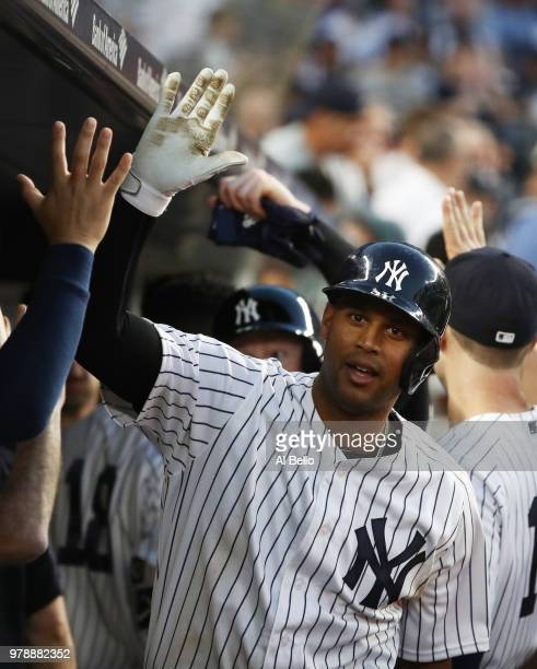 Aaron Hicks of the New York Yankees celebrates after hitting a two run home run against Marco Gonzales of the Seattle Mariners in the fifth inning...
