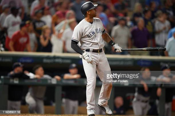 Aaron Hicks of the New York Yankees hits a home run against the Minnesota Twins during the game on July 23 2019 at Target Field in Minneapolis...