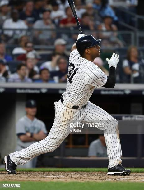 Aaron Hicks of the New York Yankees hits a two run home run against Marco Gonzales of the Seattle Mariners in the fifth inning during their game at...
