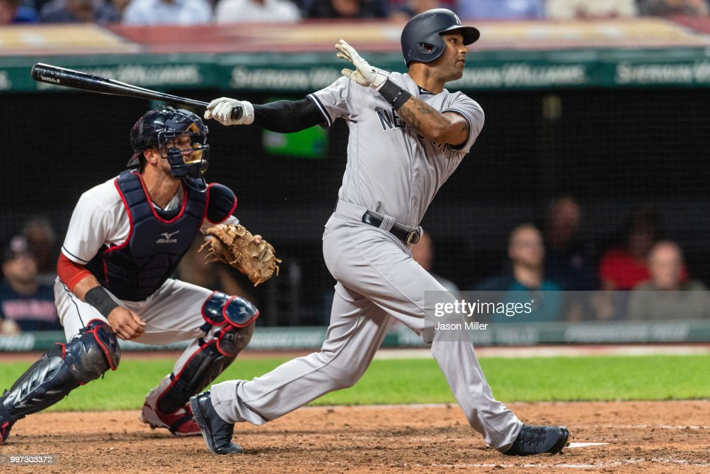 Aaron Hicks #31 of the New York Yankees hits an RBI double during the eighth inning to take the lead against the Cleveland Indians at Progressive Field on July 12, 2018 in Cleveland, Ohio.