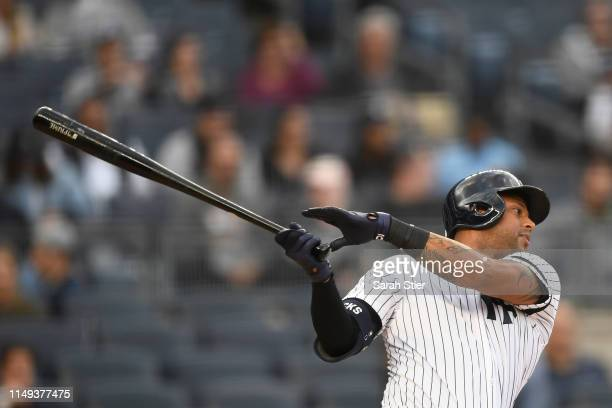 Aaron Hicks of the New York Yankees hits and strikes out during the first inning of game two of a double header against the Baltimore Orioles at...