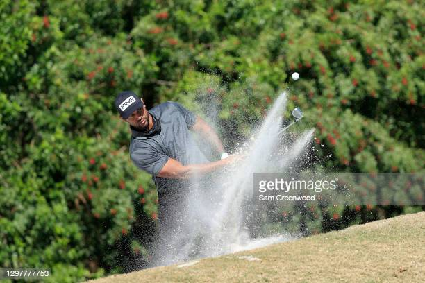 Aaron Hicks of the New York Yankees plays a shot on the fourth hole during the first round of the Diamond Resorts Tournament Of Champions at...