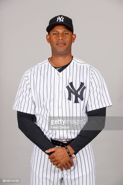 Aaron Hicks of the New York Yankees poses during Photo Day on Wednesday February 21 2018 at George M Steinbrenner Field in Tampa Florida
