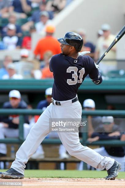 Aaron Hicks of the Yankees at bat during the spring training game between the New York Yankees and the Detroit Tigers on February 27 2017 at Joker...