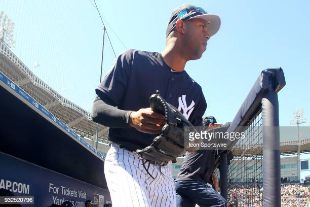Aaron Hicks of the Yankees hustles out to the outfield during the game between the Pittsburgh Pirates and the New York Yankees on March 15 at George...