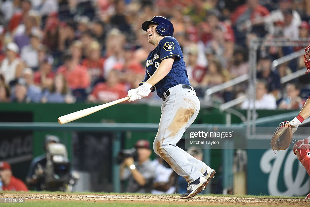 Aaron Hill #9 of the Milwaukee Brewers hits a two run home run in the seventh inning during a baseball game against the Washington Nationals at Nationals Park on July 5, 2016 in Washington, DC.
