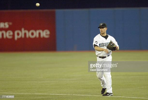 Aaron Hill of the Toronto Blue Jays fields the ball against the Boston Red Sox during their MLB game at the Rogers Centre September 19 2007 in...