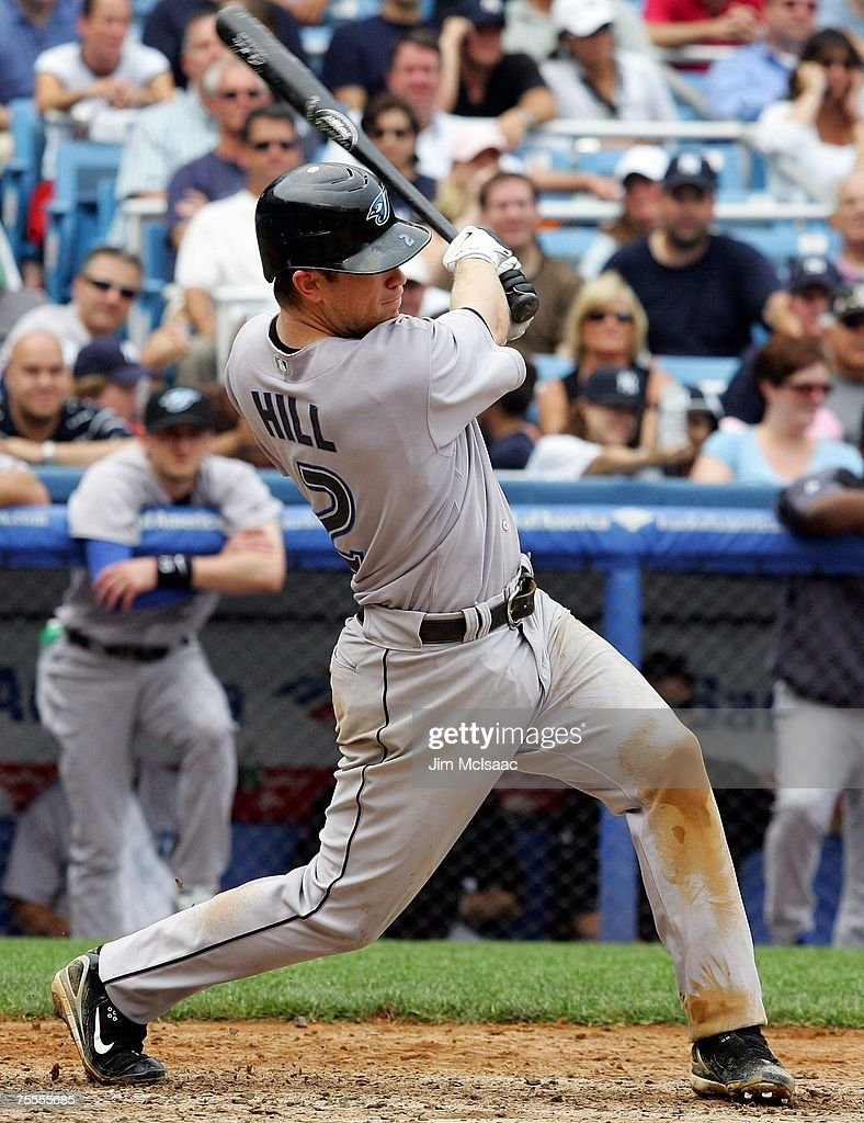 Aaron Hill #2 of the Toronto Blue Jays hits a RBI triple in the seventh inning against the New York Yankees during their game at Yankee Stadium on July 19, 2007 in the Bronx borough of New York City. The Jays defeated the Yankees 3-2.