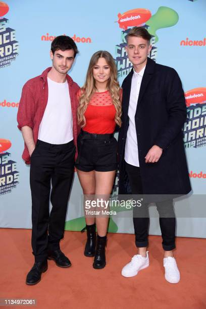 Aaron Hilmer, Julia Beautx and Jonas Ems attend the Nickelodeon Kids Choice Awards on April 4, 2019 in Rust, Germany.