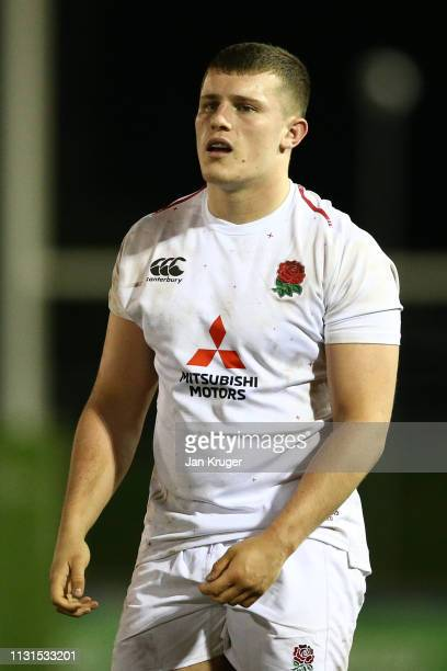 Aaron Hinkley of England during the Wales U20 v England U20 match in the Under 20 Six Nations Championships at ZipWorld Stadium on February 22 2019...