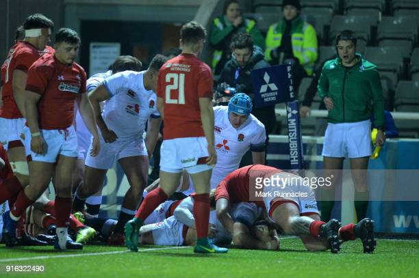 Aaron Hinkley of England scores a try late in the second half during the RBS Under 20's Six Nations match between England U20 and Wales U20 at...