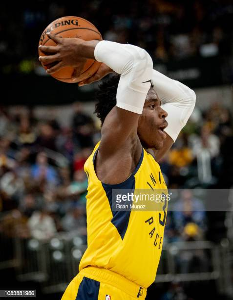 Aaron Holiday of the Indiana Pacers prepares to throw the ball during a game against the New York Knicks at Bankers Life Fieldhouse on December 16...