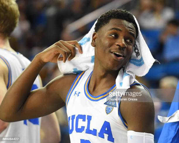 Aaron Holiday of the UCLA Bruins on the bench in the second half of the game against the Detroit Mercy Titans at Pauley Pavilion on December 3 2017...