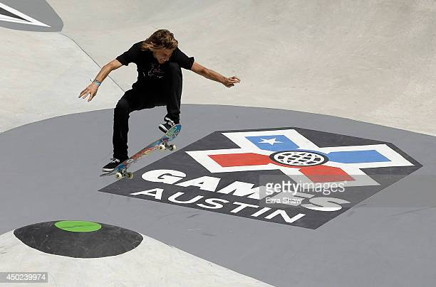Aaron Homoki competes in round one of the Skateboard Park competition during the X Games Austin at Circuit of The Americas on June 7 2014 in Austin...