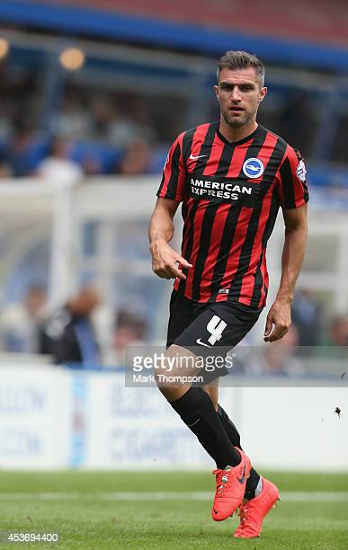 Aaron Hughes of Brighton Hove Albion in action during the Sky Bet Championship match between Birmingham City and Brighton Hove Albion at St Andrews...