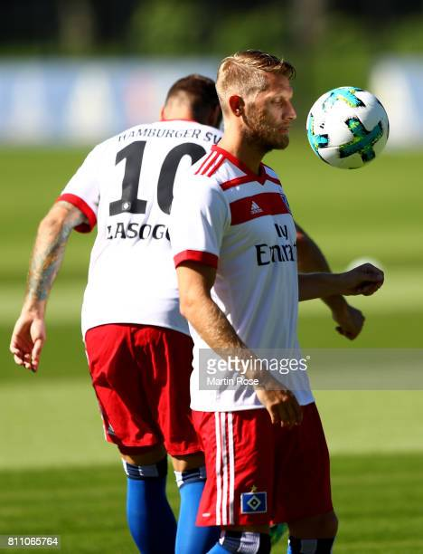 Aaron Hunt controls the ball during a training session of Hamburger SV at Volksparkstadion on July 9 2017 in Hamburg Germany