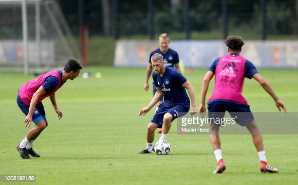 Aaron Hunt in action during the training session of Hamburger SV at Volksparkstadion on July 31 2018 in Hamburg Germany