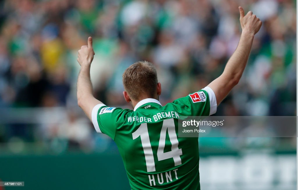 Aaron Hunt of Bremen celebrates after he scored his team's first goall during the Bundesliga match between Werder Bremen and Hertha BSC at Weserstadion on May 3, 2014 in Bremen, Germany.